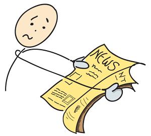 Weitsichtigkeit beim Zeitunglesen
